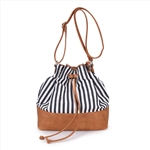 Printed Canvas Drawstring Bucket Bag