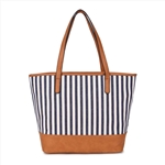 Printed Strip Line Canvas Tote Lady Hand Bag