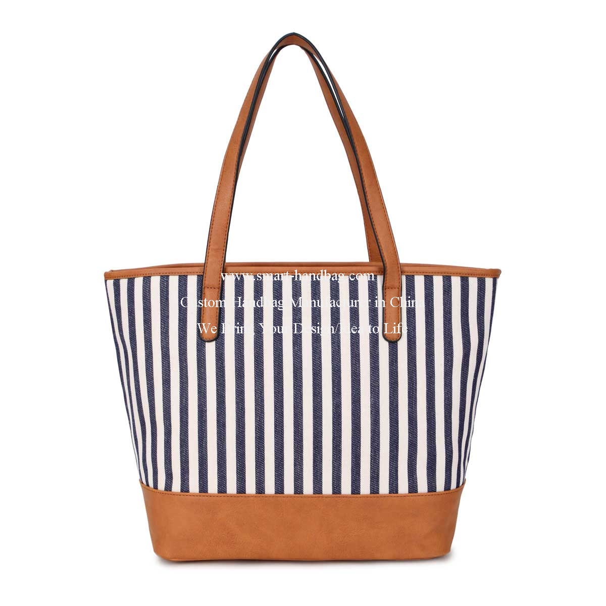 Printed Strip Line Canvas Tote Lady Hand Bag-Blue Lines