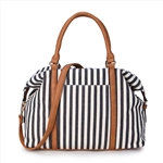 Printed Vertical Red Lines Canvas Fashion Ladies Hand Bag