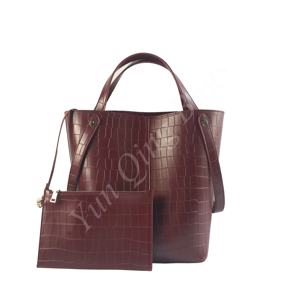 PU Stone Print Tote Women Bag with Attached Pouch