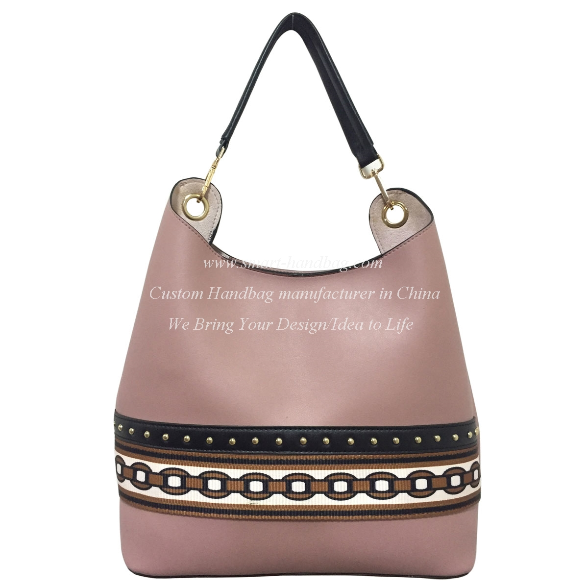 PU Shoulder Women Bag with Webbing Decor in Chile Style