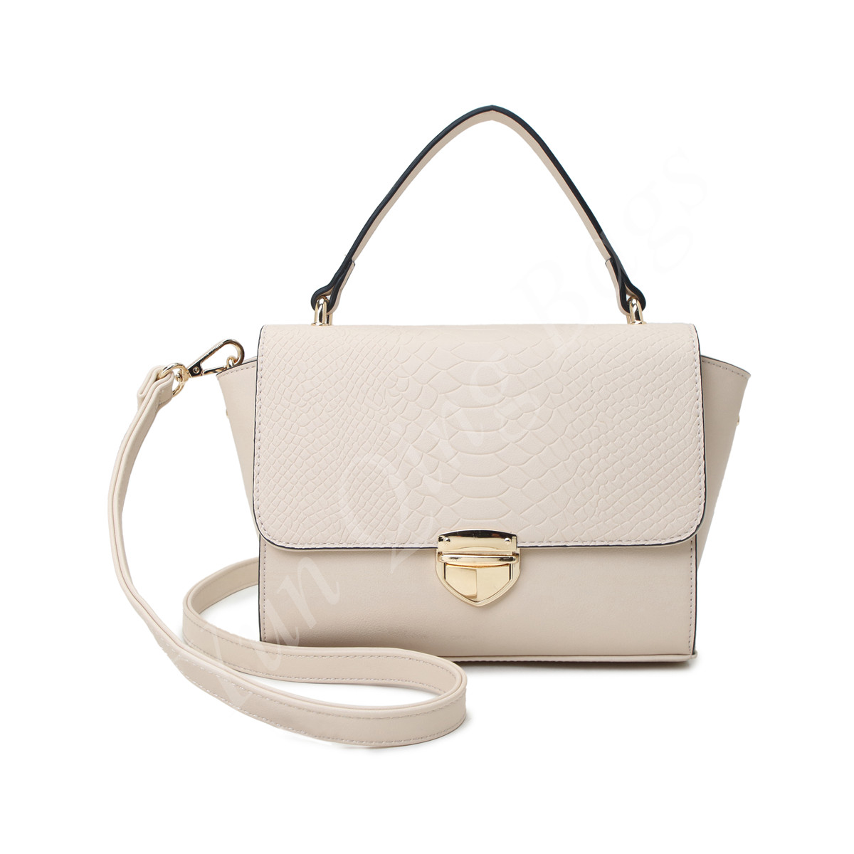 Woman Handbag with Snake Embossed Flap