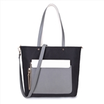 Canvas/PU Ladies Tote Hand Bag with Detachable Pocket-Black