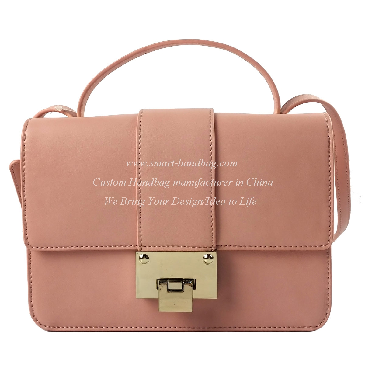 Lady Handbag with Vertical Lock Closure
