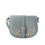 Studded flap Genuine Leather Crossbody Bag