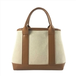 Beige Canvas Satchel Bag