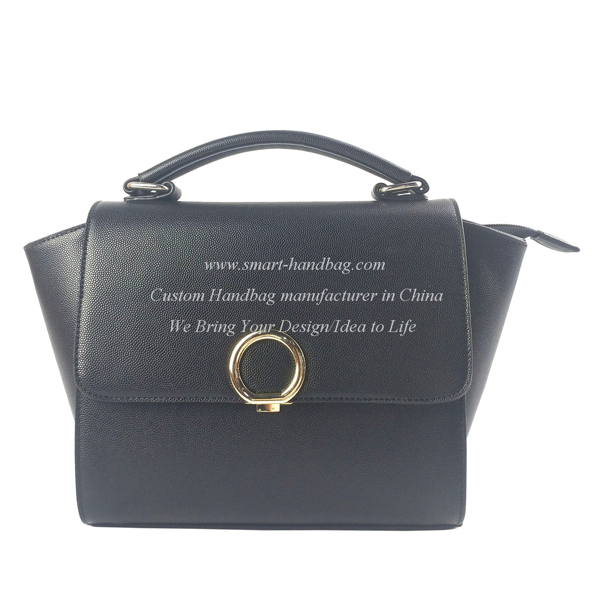 Satchel Handbag with Front Circle Locker