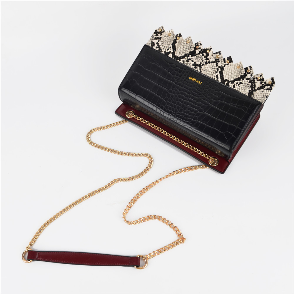 Contrast Color Python Crossbody Fashion Bag