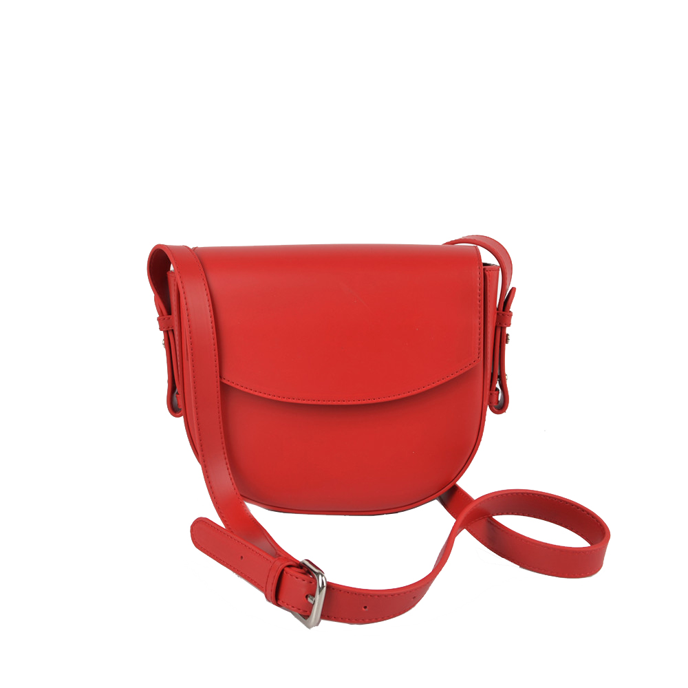 Red Crossbody Bag with Flat