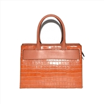 Croco PU Leather Satchel Bag