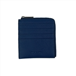 Mini Blue Card Holder With Zipper Around