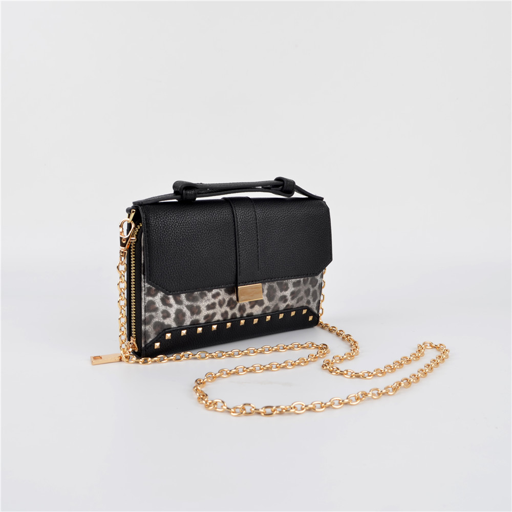 Mini Chain Wallet Bag with Leopard Print