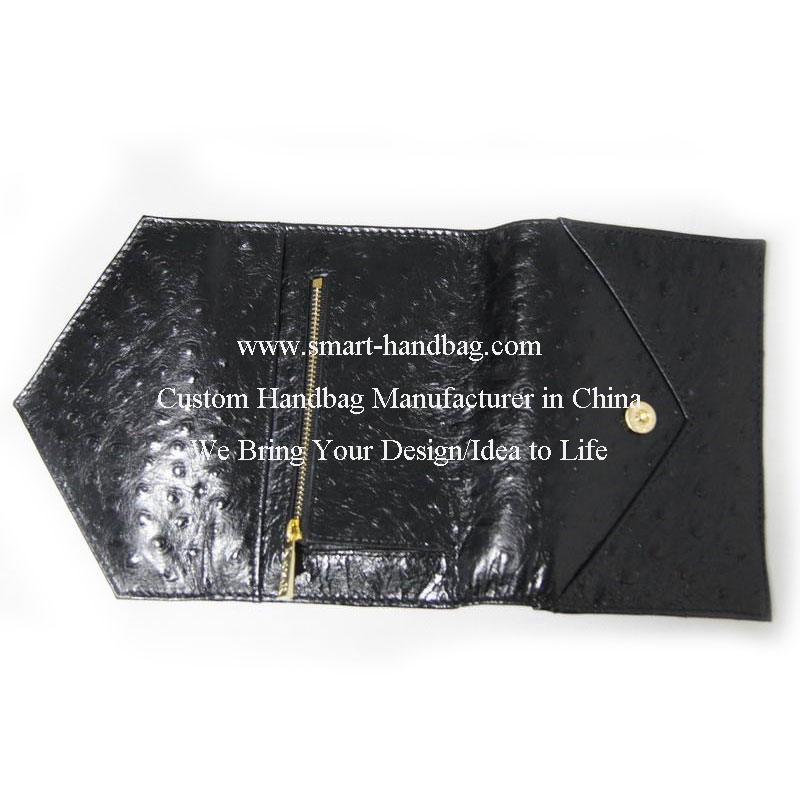 Genuine Leather Ostrich Print Envelop Wallet