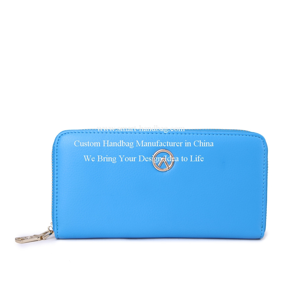 Fashion Women Zipper Wallet Blue Wallet