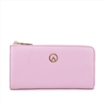 Fashion Women Top L Rounded Zipper Wallet Large Pink Wallet
